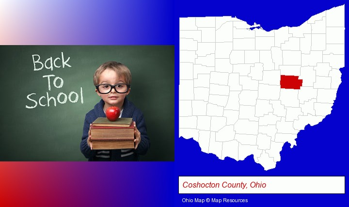 the back-to-school concept; Coshocton County, Ohio highlighted in red on a map