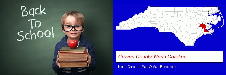 the back-to-school concept; Craven County, North Carolina highlighted in red on a map