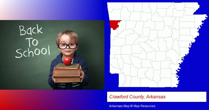 the back-to-school concept; Crawford County, Arkansas highlighted in red on a map