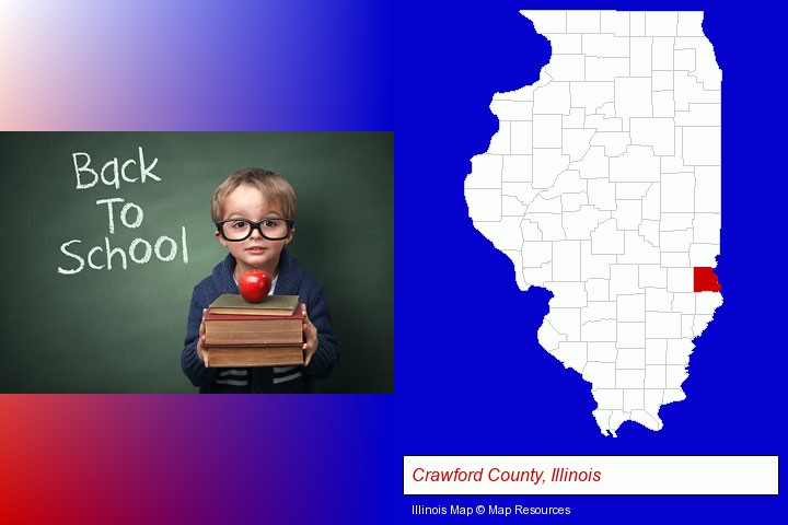 the back-to-school concept; Crawford County, Illinois highlighted in red on a map