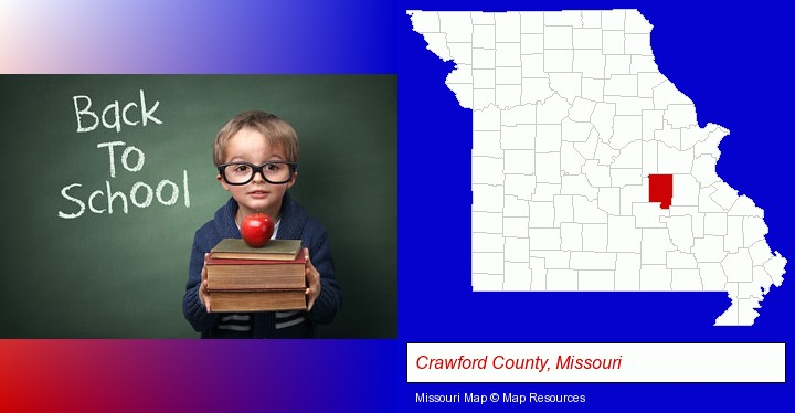 the back-to-school concept; Crawford County, Missouri highlighted in red on a map