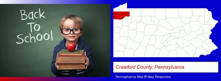 the back-to-school concept; Crawford County, Pennsylvania highlighted in red on a map