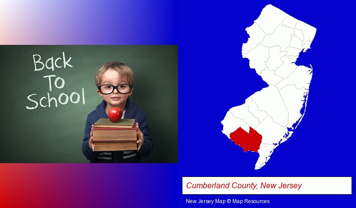 the back-to-school concept; Cumberland County, New Jersey highlighted in red on a map