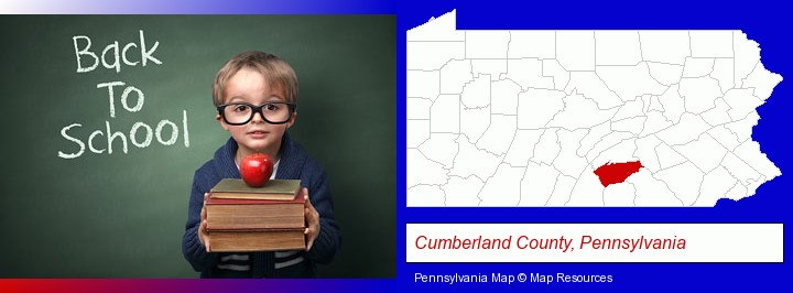 the back-to-school concept; Cumberland County, Pennsylvania highlighted in red on a map