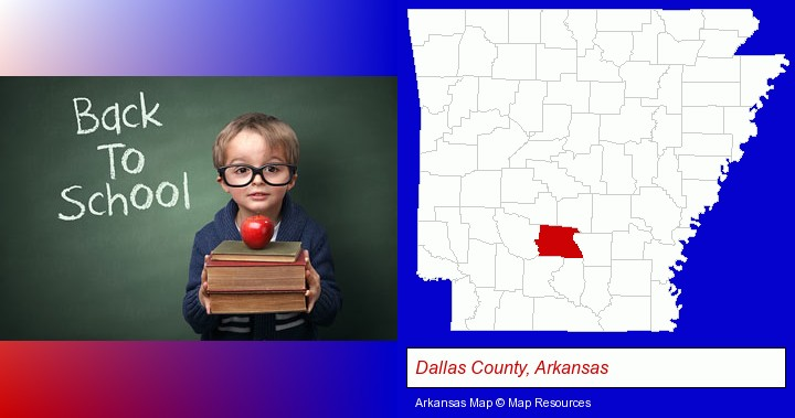 the back-to-school concept; Dallas County, Arkansas highlighted in red on a map