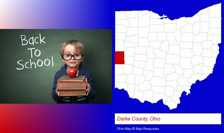 the back-to-school concept; Darke County, Ohio highlighted in red on a map