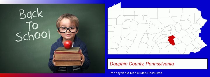 the back-to-school concept; Dauphin County, Pennsylvania highlighted in red on a map