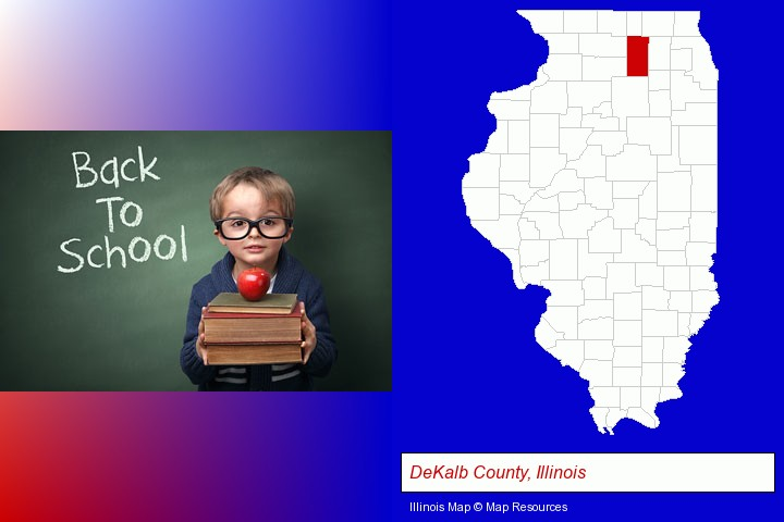 the back-to-school concept; DeKalb County, Illinois highlighted in red on a map