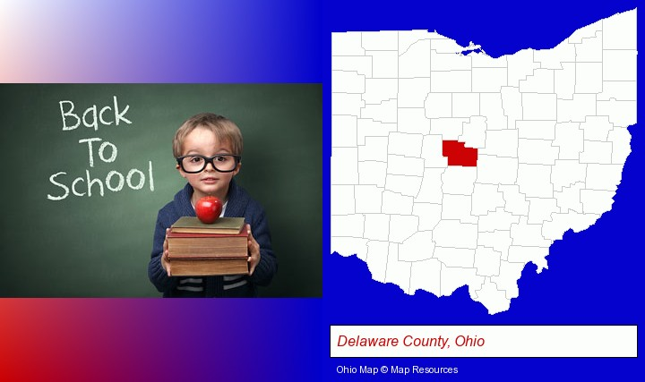 the back-to-school concept; Delaware County, Ohio highlighted in red on a map