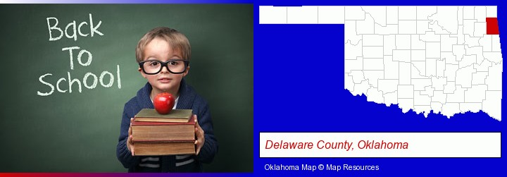 the back-to-school concept; Delaware County, Oklahoma highlighted in red on a map