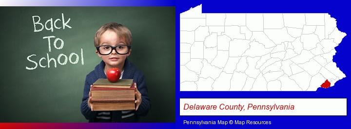 the back-to-school concept; Delaware County, Pennsylvania highlighted in red on a map