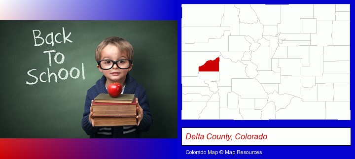 the back-to-school concept; Delta County, Colorado highlighted in red on a map