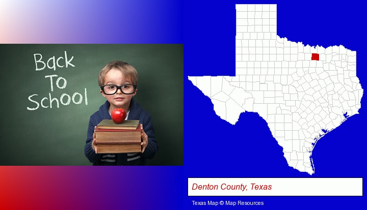 the back-to-school concept; Denton County, Texas highlighted in red on a map
