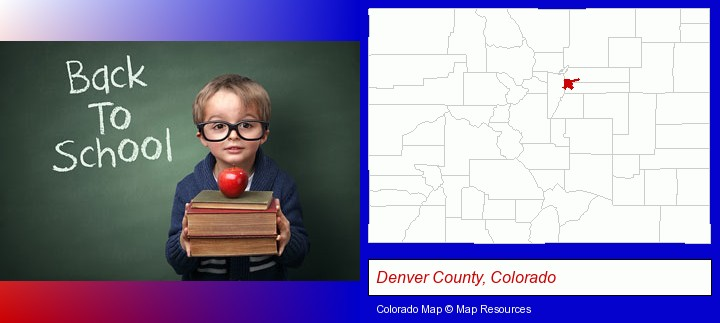 the back-to-school concept; Denver County, Colorado highlighted in red on a map