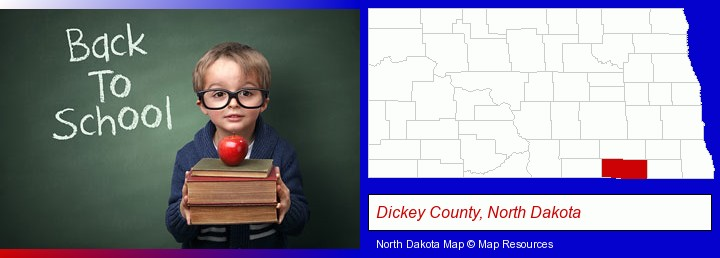the back-to-school concept; Dickey County, North Dakota highlighted in red on a map