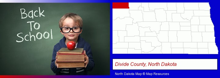 the back-to-school concept; Divide County, North Dakota highlighted in red on a map