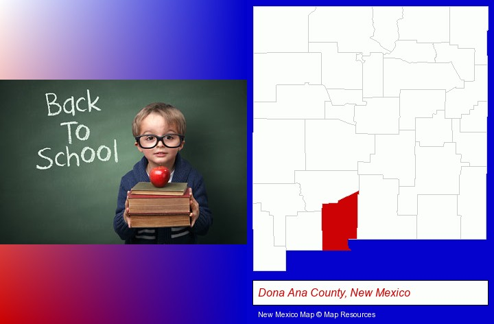 the back-to-school concept; Dona Ana County, New Mexico highlighted in red on a map