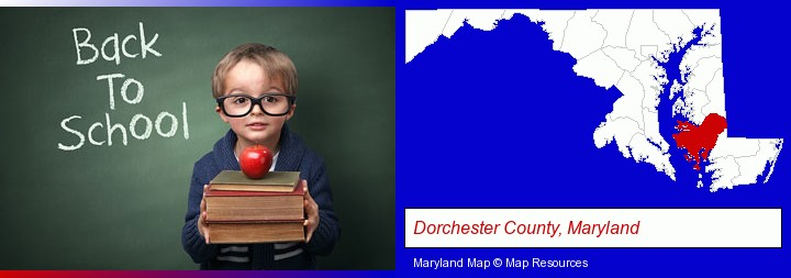 the back-to-school concept; Dorchester County, Maryland highlighted in red on a map