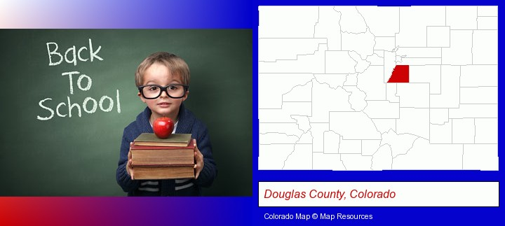 the back-to-school concept; Douglas County, Colorado highlighted in red on a map