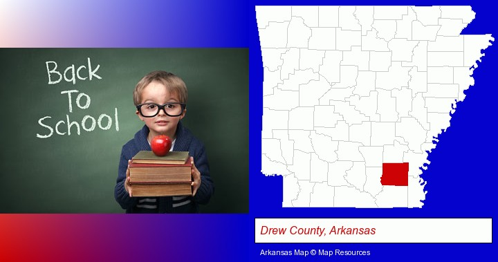 the back-to-school concept; Drew County, Arkansas highlighted in red on a map