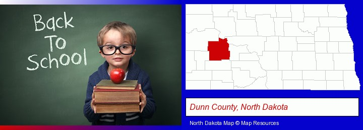the back-to-school concept; Dunn County, North Dakota highlighted in red on a map