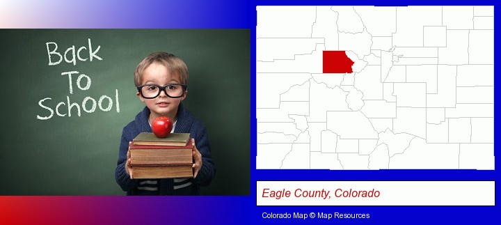 the back-to-school concept; Eagle County, Colorado highlighted in red on a map