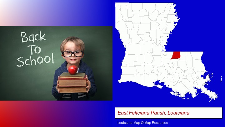 the back-to-school concept; East Feliciana Parish, Louisiana highlighted in red on a map