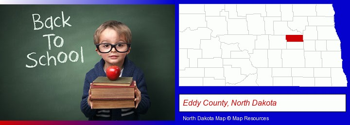 the back-to-school concept; Eddy County, North Dakota highlighted in red on a map