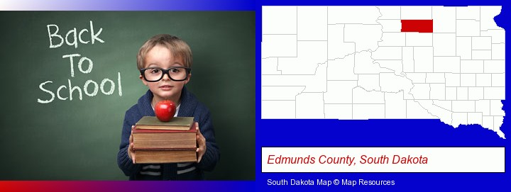 the back-to-school concept; Edmunds County, South Dakota highlighted in red on a map