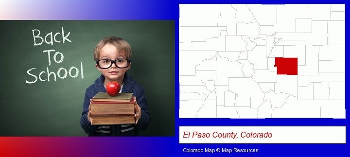 the back-to-school concept; El Paso County, Colorado highlighted in red on a map