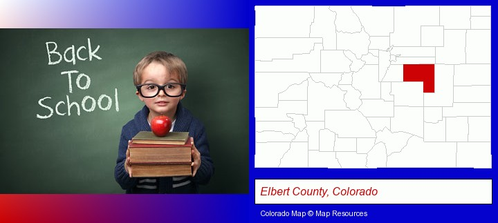 the back-to-school concept; Elbert County, Colorado highlighted in red on a map