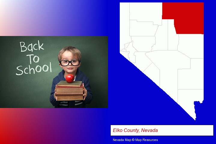 the back-to-school concept; Elko County, Nevada highlighted in red on a map