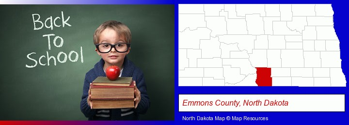 the back-to-school concept; Emmons County, North Dakota highlighted in red on a map
