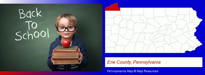 the back-to-school concept; Erie County, Pennsylvania highlighted in red on a map