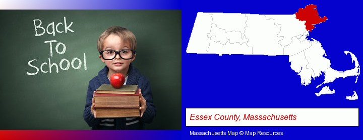 the back-to-school concept; Essex County, Massachusetts highlighted in red on a map