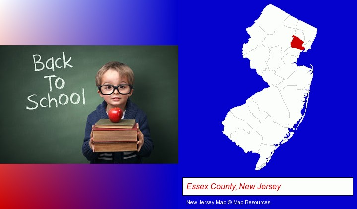 the back-to-school concept; Essex County, New Jersey highlighted in red on a map