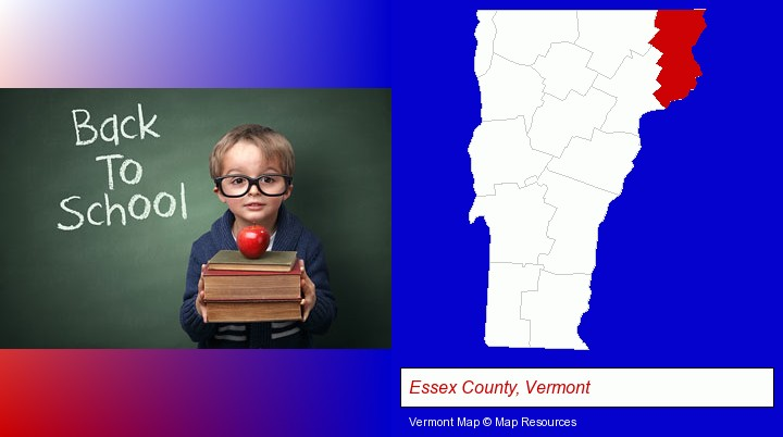 the back-to-school concept; Essex County, Vermont highlighted in red on a map