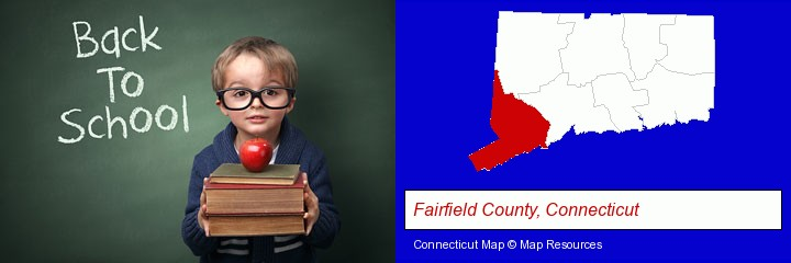 the back-to-school concept; Fairfield County, Connecticut highlighted in red on a map