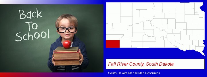 the back-to-school concept; Fall River County, South Dakota highlighted in red on a map