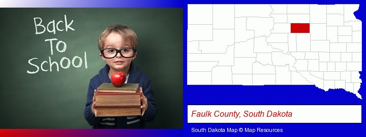 the back-to-school concept; Faulk County, South Dakota highlighted in red on a map