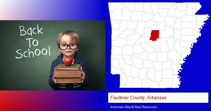 the back-to-school concept; Faulkner County, Arkansas highlighted in red on a map