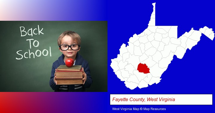 the back-to-school concept; Fayette County, West Virginia highlighted in red on a map