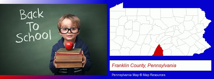 the back-to-school concept; Franklin County, Pennsylvania highlighted in red on a map