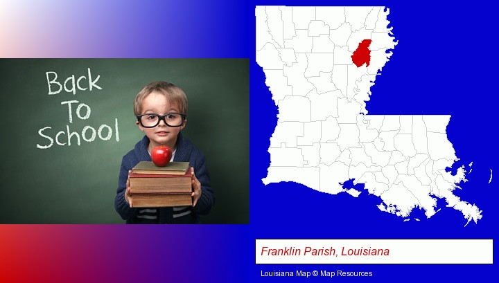 the back-to-school concept; Franklin Parish, Louisiana highlighted in red on a map