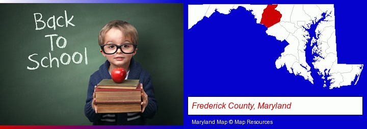 the back-to-school concept; Frederick County, Maryland highlighted in red on a map