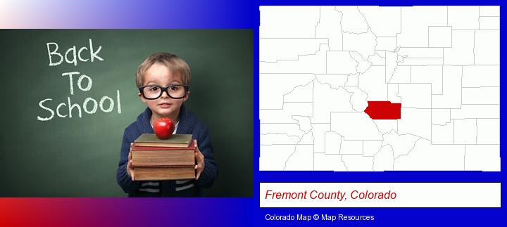 the back-to-school concept; Fremont County, Colorado highlighted in red on a map