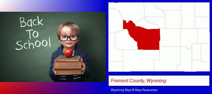 the back-to-school concept; Fremont County, Wyoming highlighted in red on a map