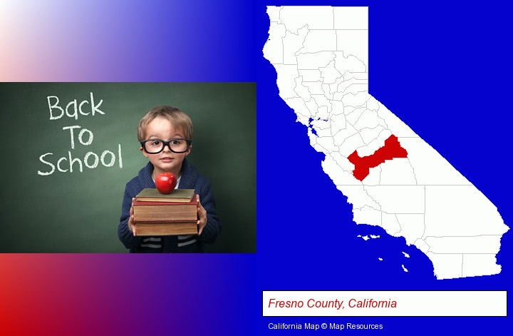 the back-to-school concept; Fresno County, California highlighted in red on a map