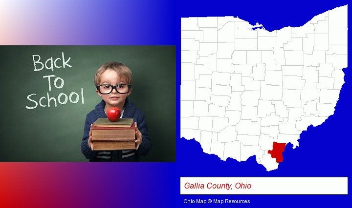 the back-to-school concept; Gallia County, Ohio highlighted in red on a map