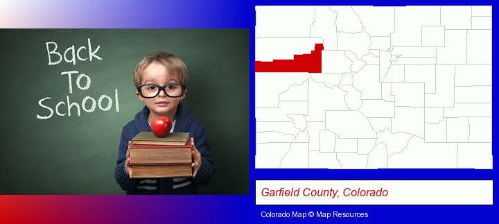 the back-to-school concept; Garfield County, Colorado highlighted in red on a map